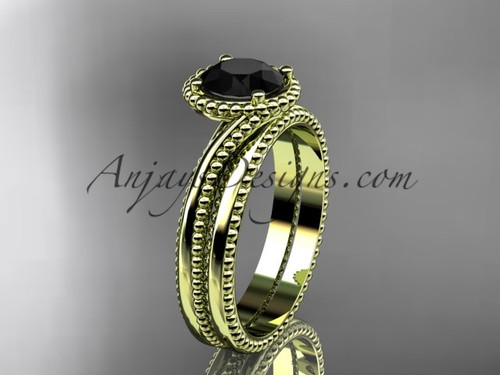 14kt yellow gold  wedding ring, engagement set with a Black Diamond center stone ADLR389S