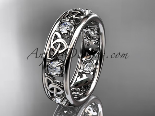 14kt White Gold Celtic Trinity Knot Wedding Band CT7160B