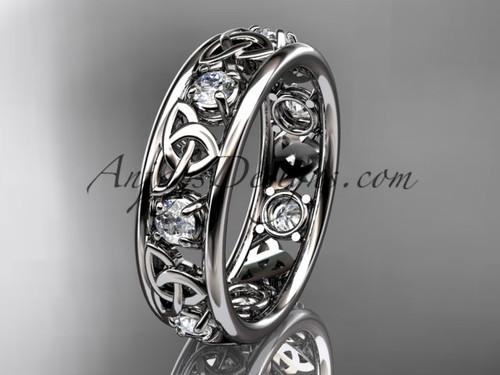 14kt White Gold Celtic Trinity Knot Wedding Band CT7160B