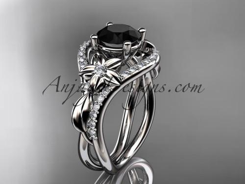 Unique White Gold Black Diamond Leaf Engagement Ring ADLR244