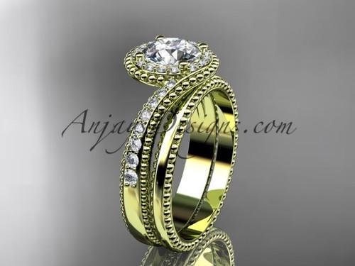 14kt yellow gold halo diamond engagement set ADLR379S