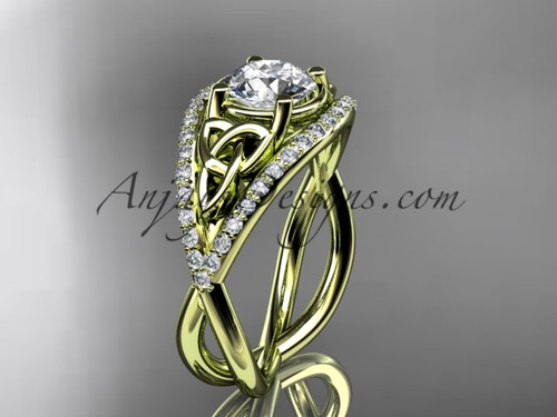 """14kt yellow gold celtic trinity knot engagement ring ,diamond wedding ring with """"Forever One"""" Moissanite center stone CT788"""