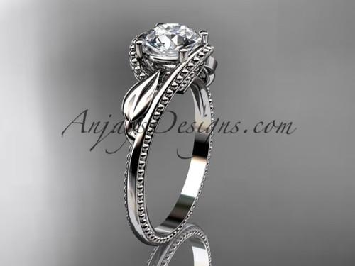 Platinum Unusual Leaf Ring Design for Women ADLR322