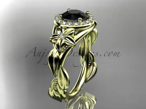 14k yellow gold diamond unique leaf and vine, floral engagement ring with a Black Diamond center stone ADLR327