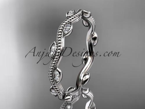 14kt white gold diamond leaf and vine engagement ring, wedding band ADLR33B