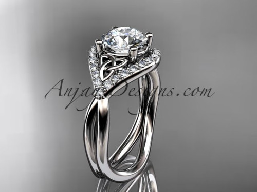 """14kt white gold diamond celtic trinity knot wedding ring, engagement ring with a """"Forever One"""" Moissanite center stone CT7390"""