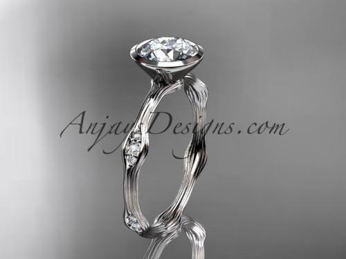 "Platinum diamond vine wedding ring, engagement ring with  ""Forever One"" Moissanite center stone ADLR21A"