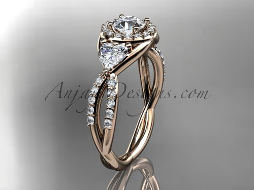 """14kt rose gold diamond engagement ring, wedding ring with a """"Forever One"""" Moissanite center stone ADLR321"""