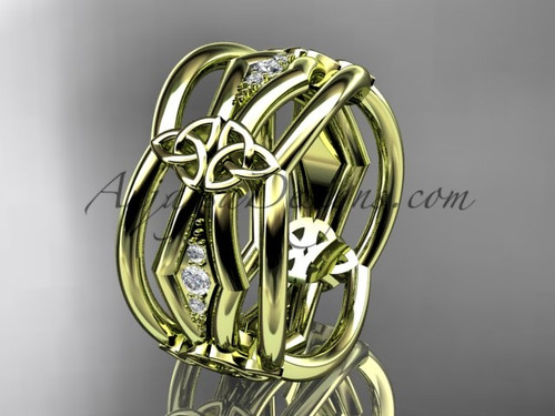 14kt yellow gold diamond celtic trinity knot wedding band,  triquetra ring, engagement  ring CT7521B