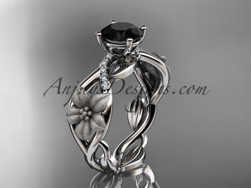 Unique 14kt white gold diamond floral leaf and vine wedding ring, engagement ring with a Black Diamond center stone ADLR270
