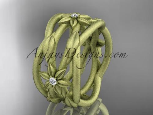 14kt yellow gold matte finish leaf and vine, flower wedding ring,wedding band ADLR352B