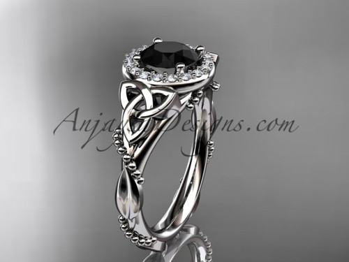 14kt white gold diamond celtic trinity knot wedding ring, engagement ring with a Black Diamond center stoneCT7328