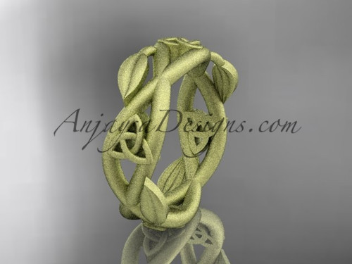 14kt yellow gold celtic trinity knot wedding band, matte finish wedding band,  triquetra ring, engagement  ring CT7403G