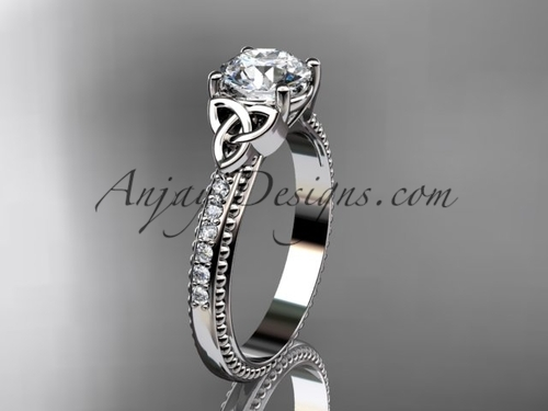 14kt white gold diamond celtic trinity knot wedding ring, engagement ring CT7391