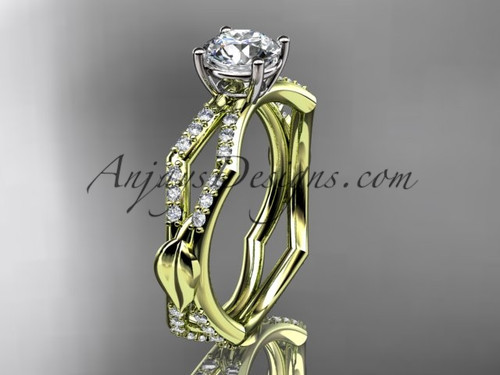 "14k yellow gold diamond leaf and vine wedding ring,engagement ring with a ""Forever One"" Moissanite center stone ADLR353"