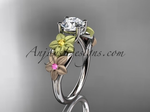 """14kt tri color gold floral unique engagement ring, wedding ring with a """"Forever One"""" Moissanite center stone ADLR169"""