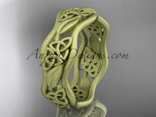 Mens Matte Wedding Bands Yellow Gold Celtic Proposal Ring CT7506G