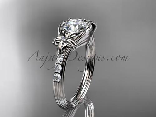 Unique Platinum diamond leaf and vine, floral diamond engagement ring ADLR333