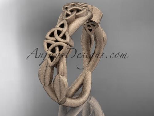 14kt rose gold celtic trinity knot wedding band, matte finish wedding band, engagement  ring CT7204G