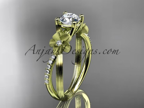 14kt yellow gold diamond leaf and vine wedding ring, engagement ring ADLR214