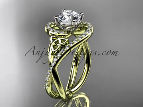 14kt yellow gold diamond celtic trinity knot wedding ring, engagement ring CT7320