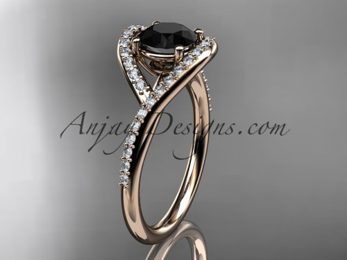 14kt rose gold diamond wedding ring, engagement ring with a Black Diamond center stone ADLR383