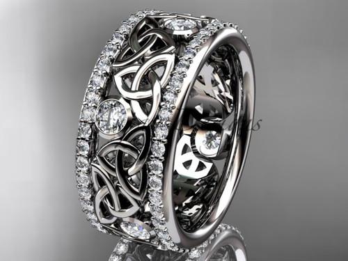 14kt white gold celtic trinity knot wedding band, diamond wedding band, engagement ring CT7239B
