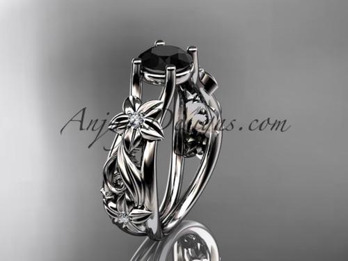 Flower Engagement Ring Platinum Black Diamond Ring ADLR216