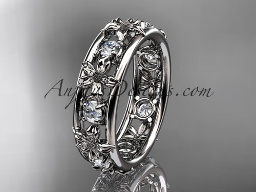 Nature Inspired Rings White Gold Wedding Band ADLR160B