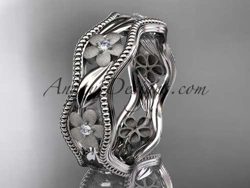 platinum diamond flower wedding ring, engagement ring, wedding band ADLR190B