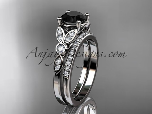 14k white gold unique engagement set, wedding ring with a Black Diamond center stone ADLR387S