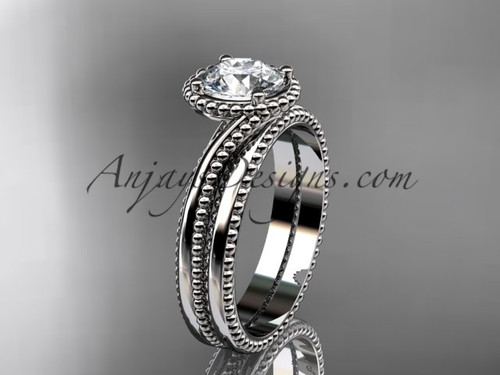"""14kt white gold  wedding ring, engagement set with a """"Forever One"""" Moissanite center stone ADLR389S"""