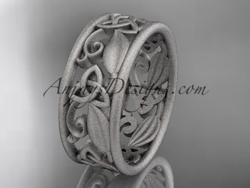platinum celtic trinity knot wedding band,  matte finish wedding band, engagement ring CT7150G