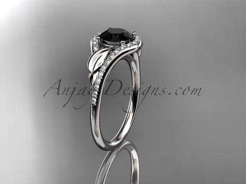 Platinum diamond leaf wedding ring, engagement ring with a Black Diamond center stone ADLR334