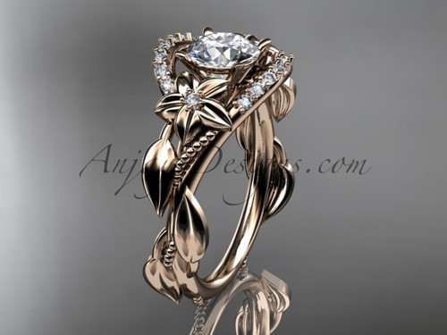 """14kt rose gold diamond unique engagement ring, wedding ring with a """"Forever One"""" Moissanite center stone ADLR326"""
