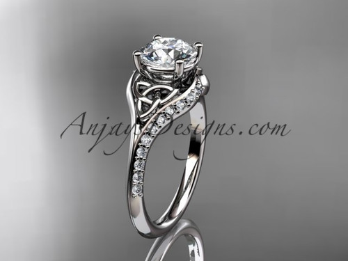 """platinum diamond celtic trinity knot wedding ring, engagement ring with a """"Forever One"""" Moissanite center stone CT7125"""