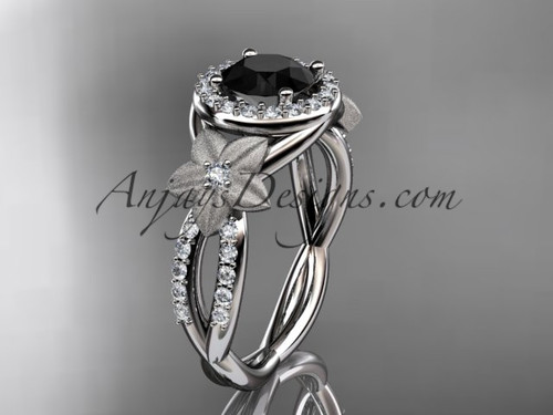 14kt white gold diamond floral wedding ring, engagement ring with a Black Diamond center stone ADLR127