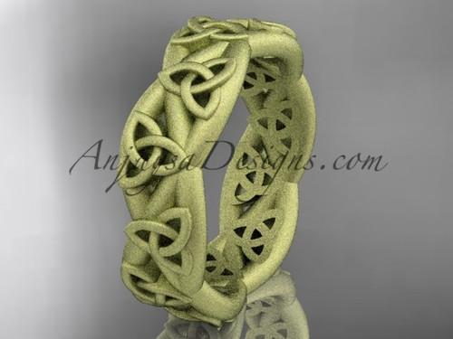 Celtic Wedding Band, Matte Yellow Gold Bridal Ring CT7392G