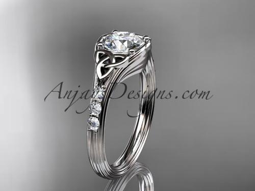 Diamond Celtic Trinity Knot White Gold Wedding Ring CT7333