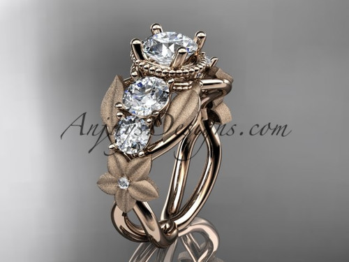 "14kt rose  gold diamond floral, leaf and vine wedding ring, engagement ring with  ""Forever One"" Moissanite center stone ADLR69"