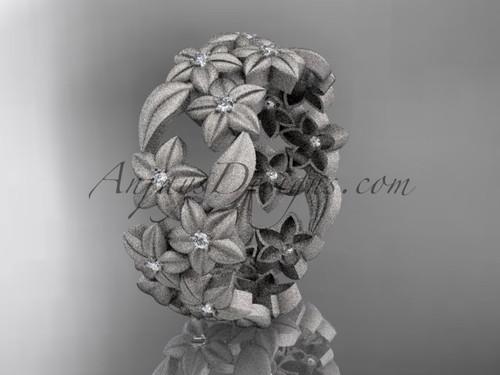 14kt white gold diamond floral, leaf and vine wedding ring,engagement ring ADLR250