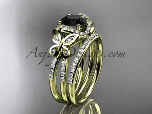 14kt yellow gold diamond butterfly wedding ring, engagement set with a Black Diamond center stone ADLR141S