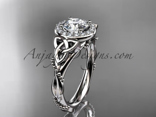 """14kt white gold diamond celtic trinity knot wedding ring, engagement ring with a """"Forever One"""" Moissanite center stoneCT7328"""