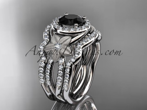platinum diamond floral wedding ring, engagement ring with a Black Diamond center stone and double matching band ADLR127S