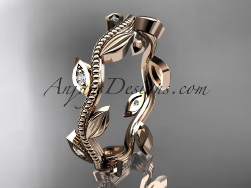 14kt rose gold diamond leaf wedding ring, engagement ring, wedding band ADLR117B