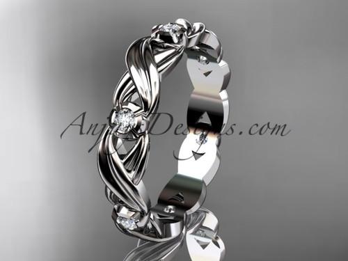 14kt white gold diamond leaf and vine wedding ring, engagement ring, wedding band ADLR19