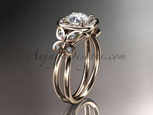 "14kt rose gold diamond unique butterfly engagement ring, wedding ring with a ""Forever One"" Moissanite center stone ADLR330"