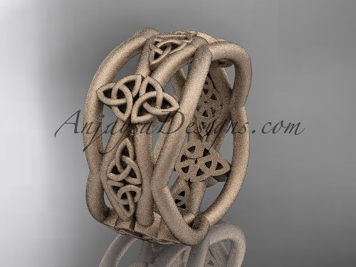 Rose Matte Finish Gold Celtic Unusual Wedding Band CT7519G