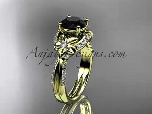 Unique 14kt yellow gold diamond flower, leaf and vine wedding ring, engagement ring with a Black Diamond center stone ADLR220