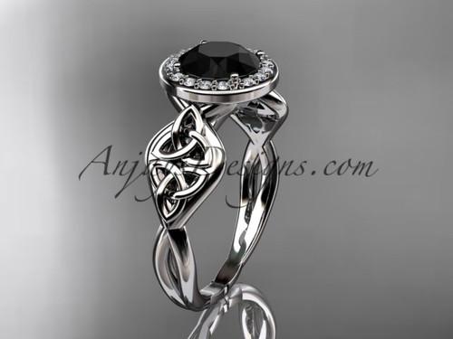 platinum diamond celtic trinity knot wedding ring, engagement ring with a Black Diamond center stone CT7219
